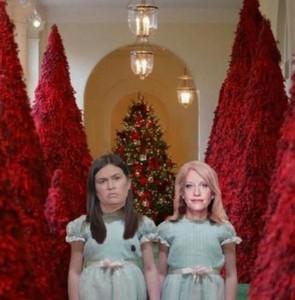 白宮走廊擺滿紅色耶誕樹成笑柄