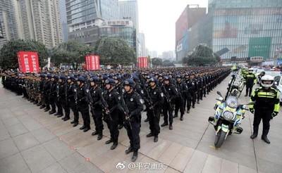 震撼!重慶數千警方展開大規模巡邏