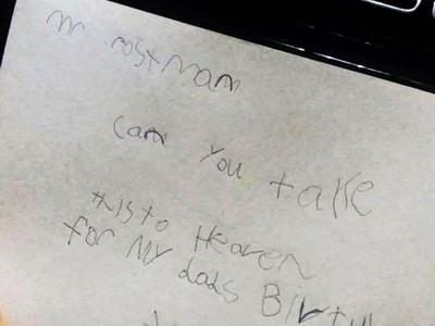 7歲童成功「寄信給亡父」!郵差暖心留言幫圓夢:信件已越過銀河送達