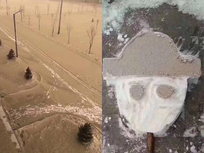 沙塵暴肆虐 新疆天降「黃雪」