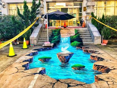 百福所3D彩繪瀑布 又一熱門打卡景點