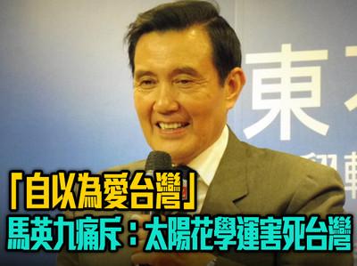 馬英九痛斥:太陽花學運害死台灣