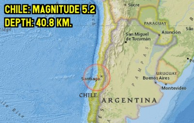 智利中部發生規模5.2地震