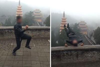 男見雪太嗨表演倒立 秒摔落陡坡