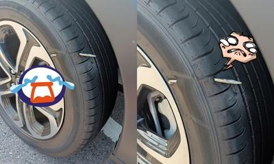 1個多月新車 輪胎穿洞插「BIG賽司棒棒」