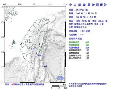 快訊/台東縣晚間地震!芮氏規模4.4