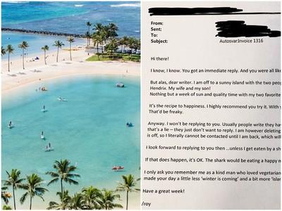 他寄電郵追殺工作 同事妙回:除非被鯊魚吃,度完假一定回你啦^^