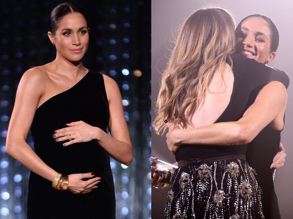 梅根马克尔穿单肩礼服挺6月肚 性感大器志当「最美孕妇」