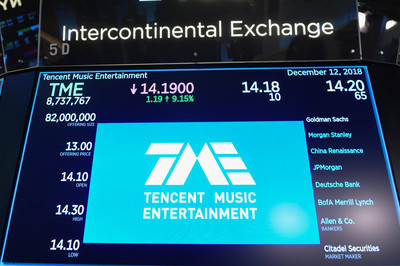 騰訊音樂紐約掛牌 開盤價飆漲9%