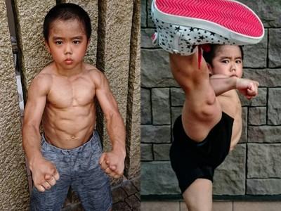 八歲「李小龍接班人」練出一身猛爆肌!單手兩指伏地挺身難不倒他