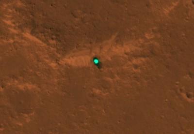 登火星空拍畫面曝 洞察號綠綠的