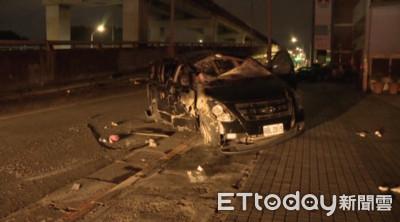 高雄9名同學租車遊台北翻車4人傷