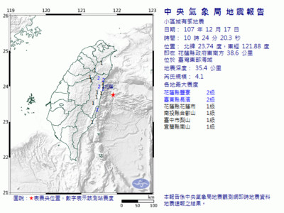 10:24花蓮外海4.1地震 最大震度2級