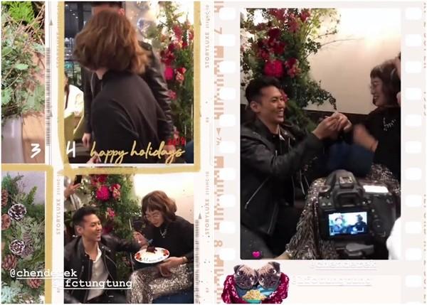 藝人陳德烈19日向交往多年的女友,「無雙樂團」的創團團員陳咏彤求婚成功。(圖/翻攝雙胞胎姊姊IG)