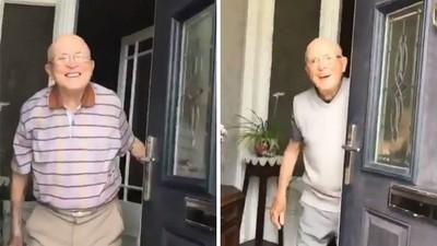 87歲爺開門見孫女「無表情→1秒醉心笑」!寵孫影片暖破8百萬顆心