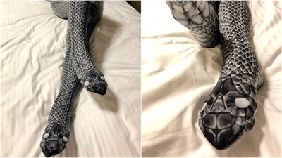真蛇脫皮掃描!「蛇蚊絲襪」雙腿佈滿鱗片 穿上你也變娜吉妮