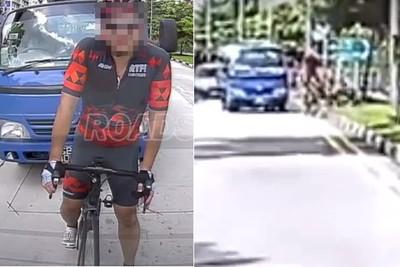 單車男擋路還砸車 貨車直接撞飛他