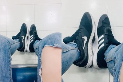 正妹急出門!穿Nike&Adidas聯名鞋