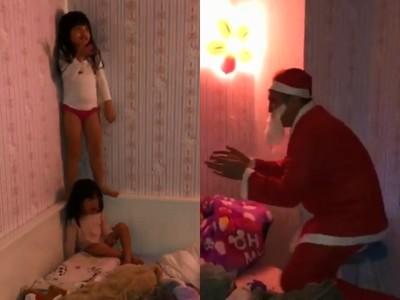 爸扮聖誕老人 女兒牆角尖叫大哭