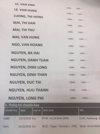 ▲▼越南旅游团团员落跑案,台湾接地旅行社取得越南主办旅行社的团员电子机票资料。显示来回机位都有。    (图/观光局光供)