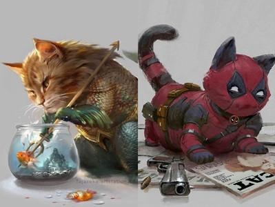 畫家讓「漫威英雄」變超萌小貓
