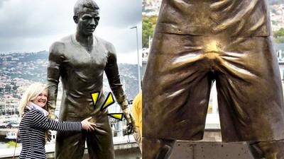 褲檔那包亮晶晶!C羅雕像下體嚴重褪色 女粉合照都愛摸一把