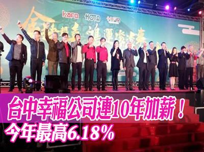 台中幸福公司連10年加薪!最高6.18%