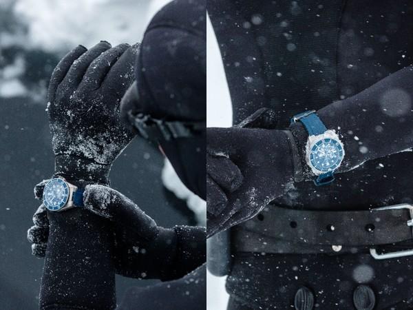 法国潜水冠军挑战极寒冰湖 唯一装备是「帝舵表」