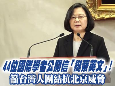 44學者公開信:台灣人應團結抗北京