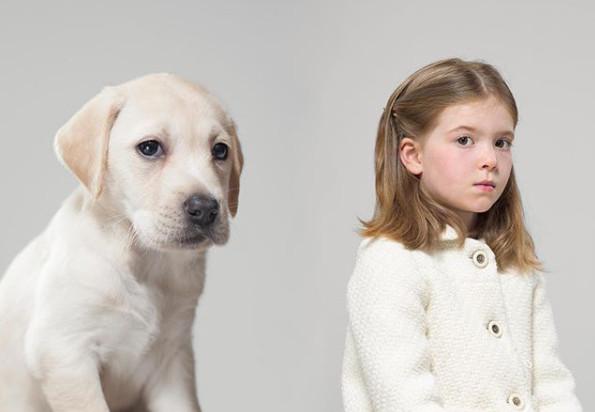 你跟你的狗狗像吗?小女孩的无辜大眼简直和她养的「拉不拉多」一模一样!