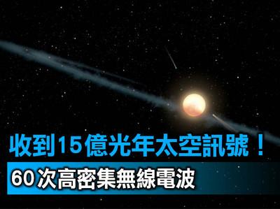 科學家:收到15億光年外太空訊號