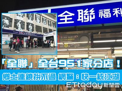 「全聯」全台951家分店!網驚:快一統江湖