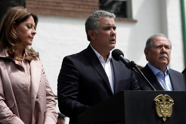 ▲哥倫比亞首都波哥大(Bogotá)一處警察學校發生恐怖爆炸事件,總統杜克(Iván Duque)出面說話。(圖/路透社)