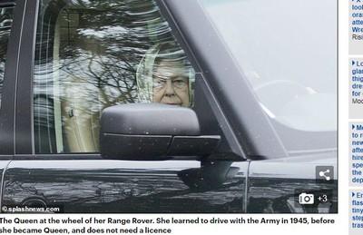 英女王被拍到「沒繫安全帶」上路