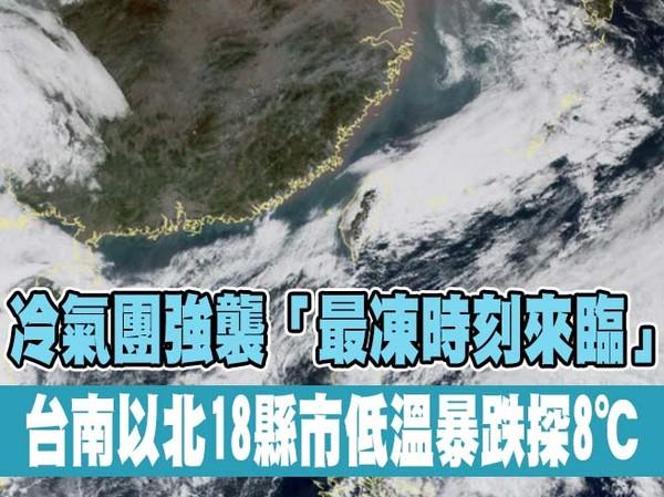 快訊/冷氣團強襲「最凍時刻來臨」 台南以北18縣市低溫暴跌探8℃