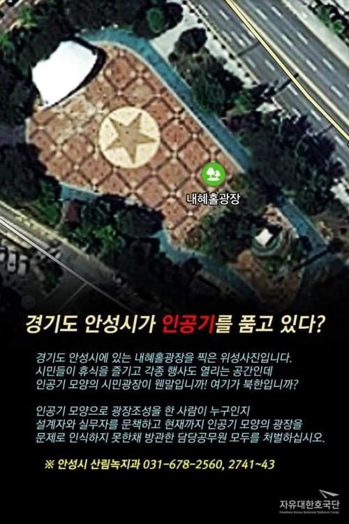 ▲▼南韓安城市廣場出現北韓國旗(圖/翻攝自網路論壇)