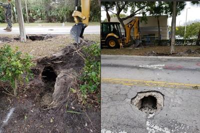 路面坍塌 發現「秘密隧道」通銀行