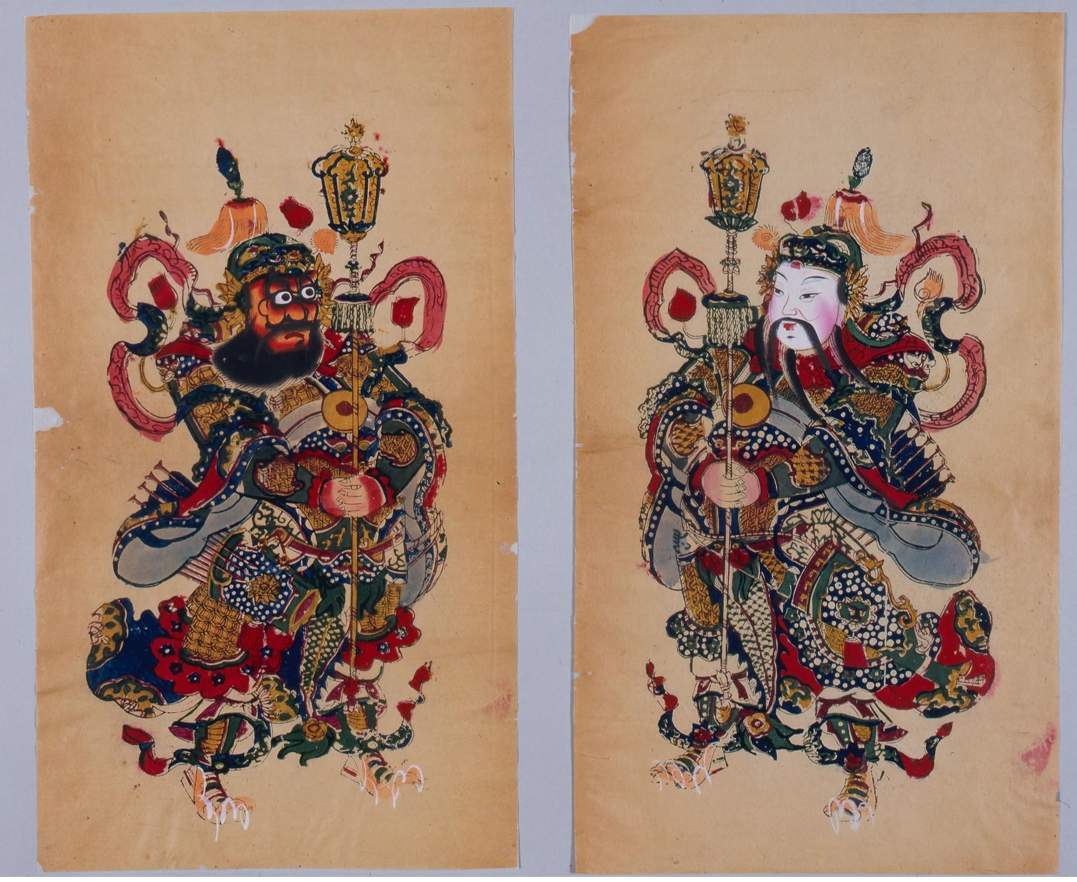 ▲古中國木版設色年畫《神荼鬱壘》,現藏日本早稻田大學圖書館。(圖/時報出版提供)
