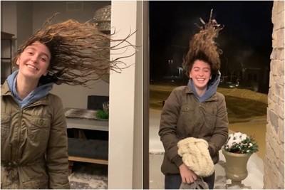 極地渦旋 冷到她頭髮變這樣!