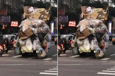 資源回收車堆出一樓高移動城堡!