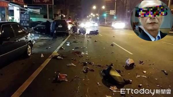 ▲陳男酒駕高速逆向撞死2人,現場一片凌亂。(圖/記者陳玉翻攝)