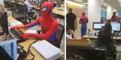 解放!離職最後一天他扮「蜘蛛人」