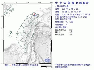 16:20台北士林規模3.2地震