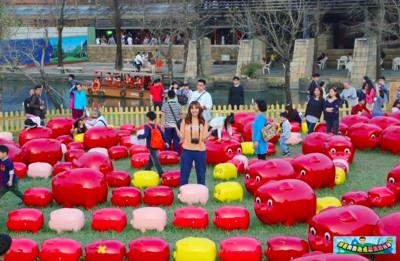 宜蘭268隻「小豬撲滿」排成迷宮