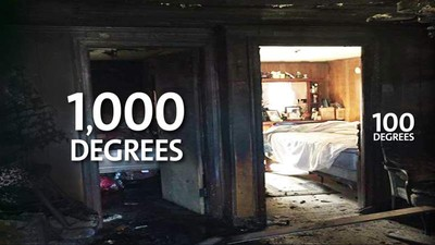 一門之差就是生與死!一張火災後對比照告訴你「關門睡覺」有多重要