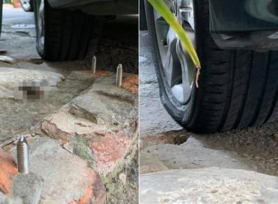 輪胎被3鋼釘戳破 車主:追到磨平