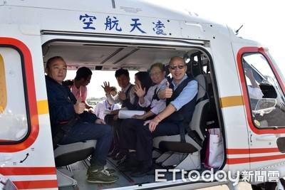 韓國瑜坐直昇機 空中看愛河