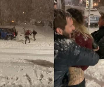 愛車被雪砸!醉女迴轉「衝人群」