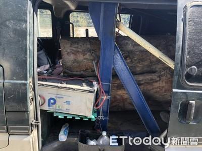 林、警埋伏逮山老鼠 查獲3噸重台灣欅