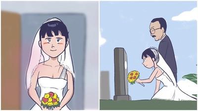 女孩「披婚紗踏紅毯」幸福破碎 無情意外讓她只能走向摯愛墓碑